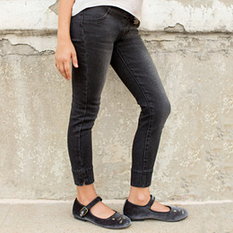 Joyfolie Amber Distressed Jeggings - Black Denim