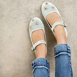 Joyfolie Liv Velvet Mary Jane Shoes - Sage Stars
