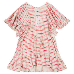 Paper Wings Little Hearts Smock Dress with Lace Trim