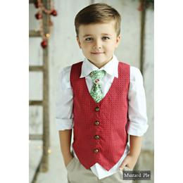 Mustard Pie Mystic Evergreen Boy's Vest - Ruby