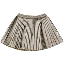 Mayoral Faux Metallic Leather Pleated Skirt - Champan