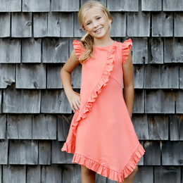 Lemon Loves Lime Woodland Play Frilly Dress - Fusion Coral