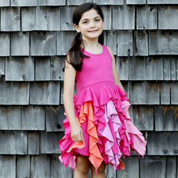 Lemon Loves Lime Woodland Play Bright Blossom Dress - Fuchsia Purple