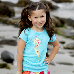 Lemon Loves Lime Secret Lagoon Leafy Seahorse Tee - Bachelor Blue