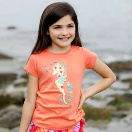 Lemon Loves Lime Secret Lagoon Leafy Seahorse Tee - Fusion Coral