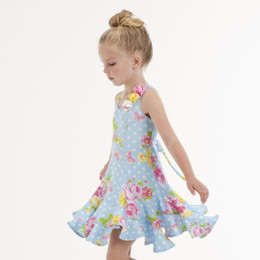 Kate Mack Garden Roses Swirl Dress - Blue