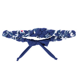 Deux Par Deux Red Orchid Braided Headband - Navy Floral