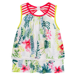 Deux Par Deux Summer Talk Layered Woven Top - Foliage Print