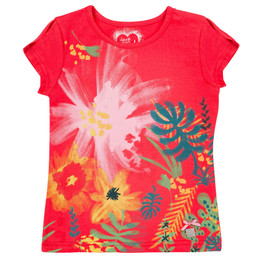 Deux Par Deux Safari Talk Printed Tee - Teaberry