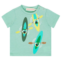 Deux Par Deux Talk Of The Woods Printed Tee - Aqua