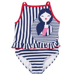 Deux Par Deux Playa Del Mar 1pc Swimsuit - Navy Stripe