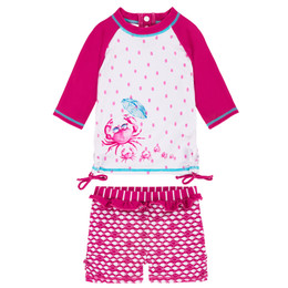 Deux Par Deux Playa Del Mar 2pc Rashguard Swimsuit - Fuchsia