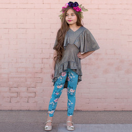 Joyfolie Felicia 2pc Tunic & Legging Set - Blue Floral