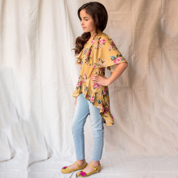 Joyfolie Felicia 2pc Tunic & Legging Set - Ochre Floral