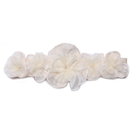 Isobella & Chloe Creamy Bliss Elastic Flower Crown Headband - Ivory