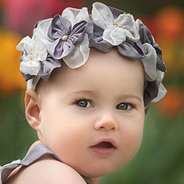 Isobella & Chloe Diana Elastic Flower Crown Headband - Gray
