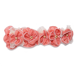 Isobella & Chloe Sweetwater Elastic Flower Crown Headband - Coral