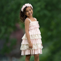 Isobella & Chloe Bubbles Tiered Dress - Light Pink