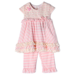 Isobella & Chloe Bubbles 2pc Tunic & Pant Set - Light Pink