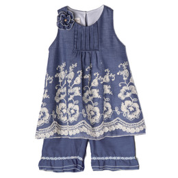 Isobella & Chloe Sweetwater 2pc Tunic & Pant Set - Blue