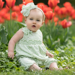 Isobella & Chloe Lavender Bouquet Romper - Green