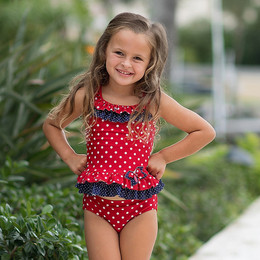Isobella & Chloe Dottie 2pc Tankini Swimsuit - Red