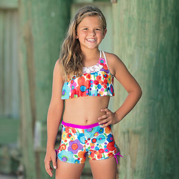 Isobella & Chloe Summer Island 2pc Boyshort Swimsuit - Purple