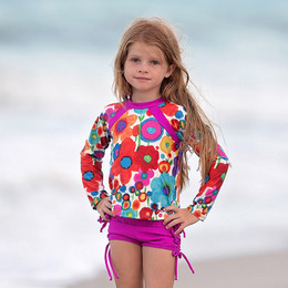 Isobella & Chloe Summer Island 2pc Rashguard Swimsuit - Purple