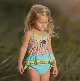 Isobella & Chloe Groovy Get Away 2pc Tankini Swimsuit - Green