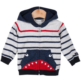 Catimini Garcon Creative Fantaisie Aquatic Garden Shark Hooded Cardigan
