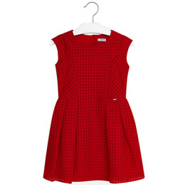 Mayoral Classic Front Pleated Dress - Red