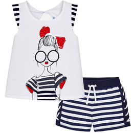 Mayoral A Stylish Girl Strike A Pose 2pc Top & Shorts Set
