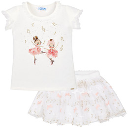 Mayoral Prima Ballerina Musical 2pc Top & Skirt Set