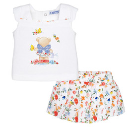Mayoral Sweet Baby Bear 2pc Top & Skort Set