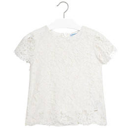 Mayoral Lace Overlay Blouse - Ivory