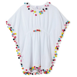Stella Cove Multicolor Pom Pom Poncho Cover-Up - White