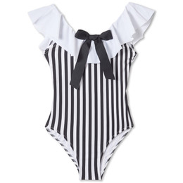 Stella Cove Striped Bow Swimsuit - Black & White