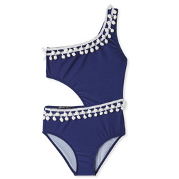 Stella Cove Pom Pom Side-Cut Swimsuit - Navy