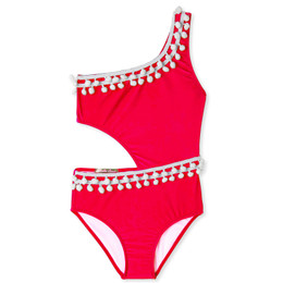 Stella Cove Pom Pom Side Cut Swimsuit - Red