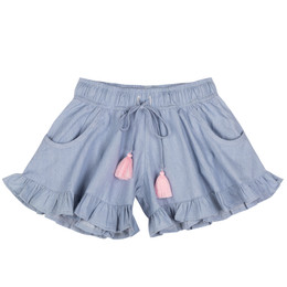 Paper Wings Frilled Shorts - Light Blue