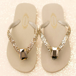 Joyfolie Jewel Flip Flops - Gold