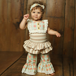 Mustard Pie Sweet Pea Colette 2pc Romper Set (**Now up to size 6X**)