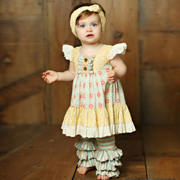 Mustard Pie  Sweet Pea Olive 2pc Set (**Now up to size 6X**)