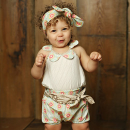 Mustard Pie Sweet Pea Lala 3pc Top Bloomer & Headband Set (**Now up to size 4T**)