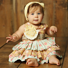 Mustard Pie Sweet Pea Jubilee Romper (**Now up to size 4T**)