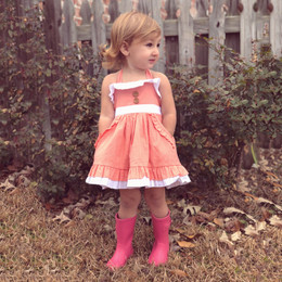 Evie's Closet Peach Twirly Dress