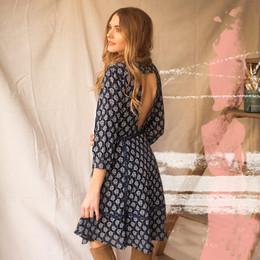 Joyfolie Madeline Dress (Women's) - Navy