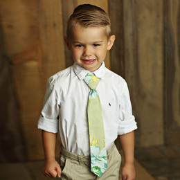 Mustard Pie Apple Blossom Boy's Necktie - Olive