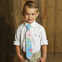 Mustard Pie Apple Blossom Boy's Necktie - Blue