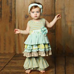 Mustard Pie  Apple Blossom Lily 2pc Tunic Set (**Now up to size 6X**)